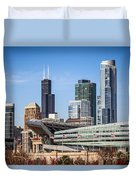 Chicago Skyline With Soldier Field And Sears Tower  Duvet Cover by Paul Velgos