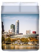 Chicago Skyline With Soldier Field Duvet Cover by Paul Velgos