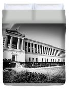 Chicago Solider Field Black And White Picture Duvet Cover by Paul Velgos