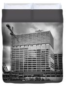 Chicago Sun Times Facade After The Storm Bw Duvet Cover