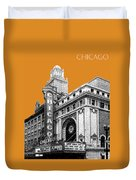 Chicago Theater - Dark Orange Duvet Cover