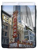 Chicago Theater Facade Northside Duvet Cover