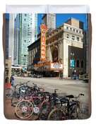 Chicago Theater Marquee Sign On State Street Duvet Cover