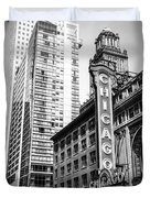 Chicago Theatre Black And White Picture Duvet Cover