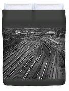 Chicago Transportation 02 Black And White Duvet Cover