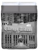 Chicago Tribune Facade Signage Bw Duvet Cover