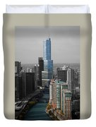 Chicago Trump Tower Blue Selective Coloring Duvet Cover