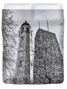 Chicago Water And Hancock Towers Black And White Duvet Cover