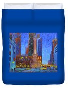 Chicago Water Tower At Night Duvet Cover