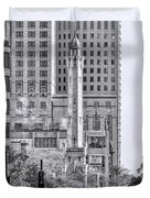 Chicago Water Tower Beacon Black And White Duvet Cover