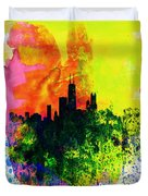 Chicago Watercolor Skyline Duvet Cover