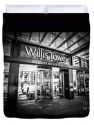 Chicago Willis-sears Tower Sign In Black And White Duvet Cover