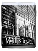 Chicago Willis Tower Sign In Black And White Duvet Cover by Paul Velgos
