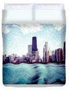Chicago Windy City Digital Art Painting Duvet Cover