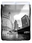 Chicago Wrigley Tribune Equitable Buildings Black And White Phot Duvet Cover