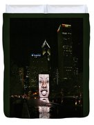 Chicago's Crown Fountain At Night Duvet Cover by Christine Till