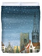 Chichester Cathedral A Snow Scene Duvet Cover by Judy Joel