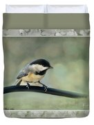 Chickadee With Frame  Duvet Cover