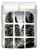 Chickadees And Dogberries Abstraction Duvet Cover