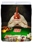 Chicken - Playing Chicken Duvet Cover by Mike Savad
