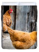 Chickens At The Barn Duvet Cover