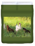 Chickens In Tall Grass Duvet Cover