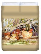 Chickens In The Hedge II Duvet Cover
