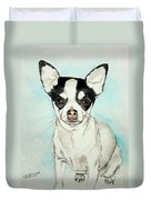 Chihuahua White With Black Spots Duvet Cover