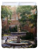 Child And Fountain Duvet Cover