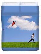 Child Flying A Kite Duvet Cover