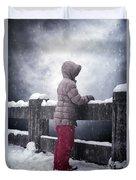 Child In Snow Duvet Cover
