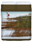 Child Playing On The Beach Mackinaw City Duvet Cover