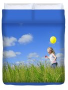 Child Running With A Balloon Duvet Cover