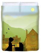 Childhood Dreams The Pram Duvet Cover by John Edwards