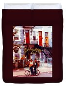 Childhood Montreal Memories Balconies And Bikes The Boys Of Summer Our Streets Tell Our Story Duvet Cover