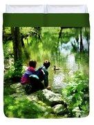Children And Ducks In Park Duvet Cover