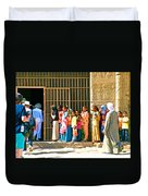 Children And Tourists At Entry To Temple Of Hathor In Dendera-egypt Copy Duvet Cover by Ruth Hager