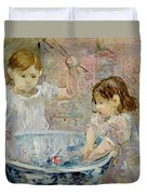 Children At The Basin Duvet Cover