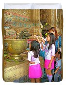 Children Bring Lotus Flowers To Royal Temple At Grand Palace Of Thailand Duvet Cover