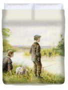 Children Fishing By A Stream Duvet Cover