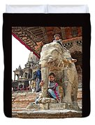 Children Love The Elephants In Patan Durbar Square In Lalitpur-nepal Duvet Cover