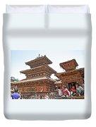 Children On Pagodas In Bhaktapur Durbar Square In Bhaktapur-nepal Duvet Cover
