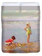 Children On The Beach Duvet Cover