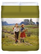 Children On The Way Home Duvet Cover