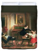Children Playing At Coach And Horses Duvet Cover by Charles Robert Leslie