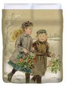 Children Playing In The Snow  Duvet Cover