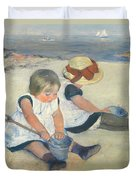 Children Playing On The Beach Duvet Cover