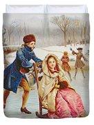 Children Skating Duvet Cover by Maurice Leloir