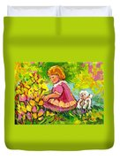 Children's Art - Little Girl With Puppy - Paintings For Children Duvet Cover