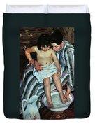 Child's Bath Duvet Cover by Mary Cassatt